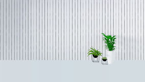 Old wall decor with green plant in vase-3D render Royalty Free Stock Image