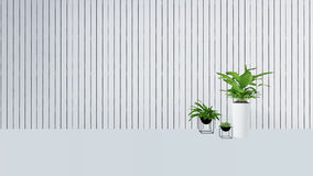 Old wall decor with green plant in vase-3D render Stock Image
