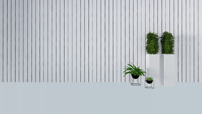 Old wall decor with green plant in vase-3D render Stock Photos