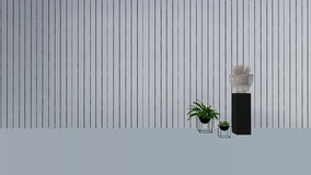 Old wall decor with green plant in vase-3D render Royalty Free Stock Photo