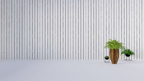 Old wall decor with green plant in vase-3D render. Wooden wall decor with green plant in white wal backgroundl-3D render Stock Image