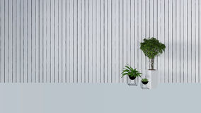 Old wall decor with green plant in vase-3D render Stock Images