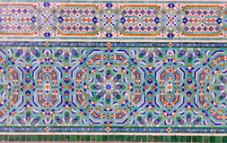 Beautiful mosaics. Old wall decorated with beautiful mosaics in Casablanca, Morocco royalty free stock photos