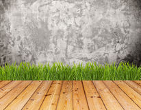 Old wall and green grass on wood floor. Royalty Free Stock Photography