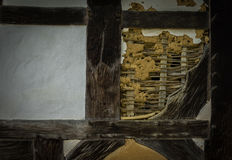 The old wall of the half timbered  farmhouse Stock Images