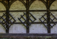 The old wall of the half timbered  farmhouse Stock Photo