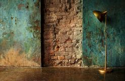 Old wall with lamp stock photos