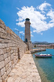 The old wall with the lighthouse. Rethymno city, The Crete island,Greece. Stock Images