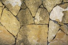 Wall made of big stones. Old wall made of big yellow stones with cracks. Background Stock Photography