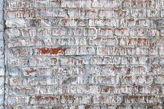 Old wall made of red brick, painted white in loft style for modern designer interior. Of room, bar or restaurant royalty free stock photo