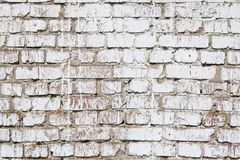 Old wall made of red brick, painted white in loft style for modern designer interior of room. Bar or restaurant stock image