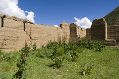 Old wall in nature. Old  Wall with Blue Sky and Clouds Stock Image