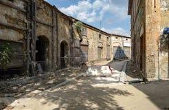 Old wall in Nicosia. Near the border stock photos