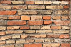Old Wall of Red Bricks and White Brayed and Cracked Old Paint. Red, Terracotta and White Brick Background. Old Wall for Background stock photos