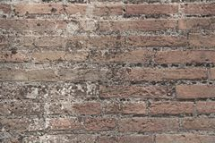 Old Wall of Red Bricks and White Brayed and Cracked Old Paint. Red, Terracotta and White Brick Background. Old Wall for Background. Design, Design and Template stock images