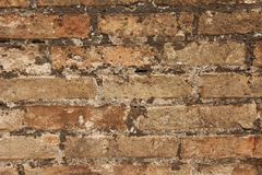 Old Wall of Red Bricks and White Brayed and Cracked Old Paint. Red, Terracotta and White Brick Background. Old Wall for Background royalty free stock images