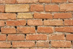 Old Wall of Red Bricks and White Brayed and Cracked Old Paint. Red, Terracotta and White Brick Background. Old Wall for Background. Design, Design and Template royalty free stock photos