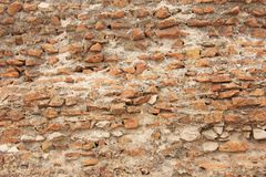 Old Wall of Red Bricks and White Brayed and Cracked Old Paint. Red, Terracotta and White Brick Background. Old Wall for Background stock image