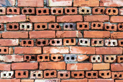 Old wall of red briks tiled background, regular block texture Royalty Free Stock Photography