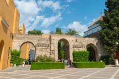 Old wall Royal Alcazar of Sevilla. Old wall and entrance Royal Alcazar of Sevilla, Andalusia, Spain royalty free stock photo