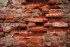 Old Wall with Ruined Bricks Stock Photo