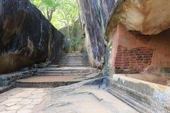 Old wall of Sigiriya castle stock photo