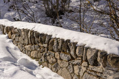 Old wall with snow in the countryside Stock Image