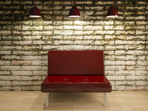 Old wall and sofa chair interior design, 3d rendering Royalty Free Stock Images