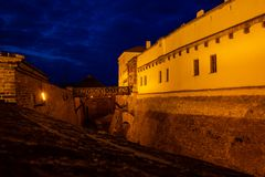 Old wall of Spilberk Castle wall in evening time in Brno, Czech republic. Europe stock photography
