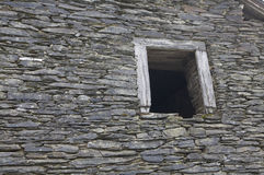 Old wall stones. View on old wall with window in Belgium Ardennen stock photography