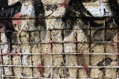 Old wall texture with metal grating stock photos