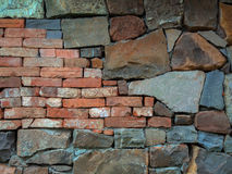 Old wall. Textured old flat brick and stone wall Stock Image