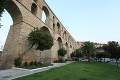 The old wall in Thessaloniki. The old water wall in Kavala Royalty Free Stock Photo