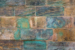 Old wall with turquoise discoloration. Detail of an old brown wall with discolorations in turquoise and purple Royalty Free Stock Image
