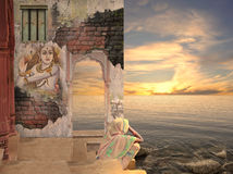 Old wall. Woman near old wall on the Ganges Royalty Free Stock Images