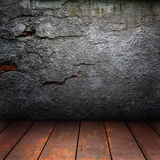 Old wall and wooden floor Stock Photo