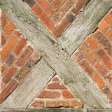 Old wall with x-shaped beams Stock Image