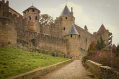Old walled citadel. Carcassonne. France. The old walled citadel. Ramparts and towers. Carcassonne. France Stock Photo