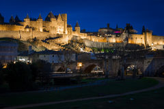 Old walled citadel at night. Carcassonne. France Stock Photo