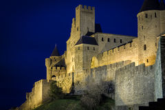 Old walled citadel at night. Carcassonne. France Royalty Free Stock Photo