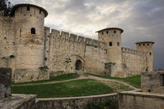 Old walled citadel. Roman towers. Carcassonne. France Royalty Free Stock Photos