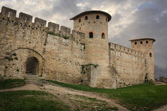 Old walled citadel. Roman towers. Carcassonne. France Stock Image