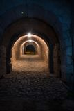The old walled underground tunnel Stock Photo