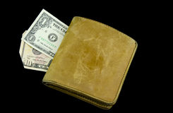 Old Wallet. Old, used, leather wallet and money Stock Photography