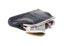 Old wallet. With last dollar Royalty Free Stock Photography