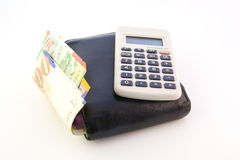 Old wallet & calculator Royalty Free Stock Images