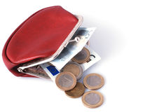Old wallet and changes Royalty Free Stock Photography