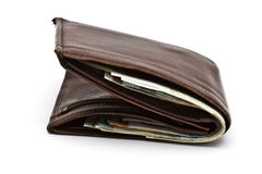 Old wallet and currency Royalty Free Stock Photo