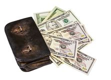 Old wallet with dollars Royalty Free Stock Photography