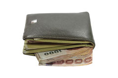 Old wallet  full of money Royalty Free Stock Images